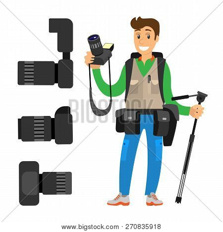 Photographer And High Resolution Action Cameras With Lens Vector Photocameras Isolated. Gear With Fl