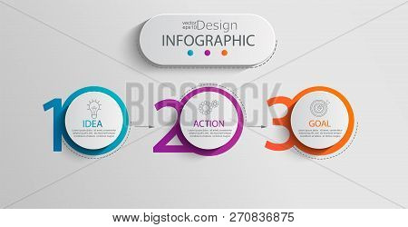 Paper Infographic Template With 3 Circle Options For Presentation And Data Visualization. Business P