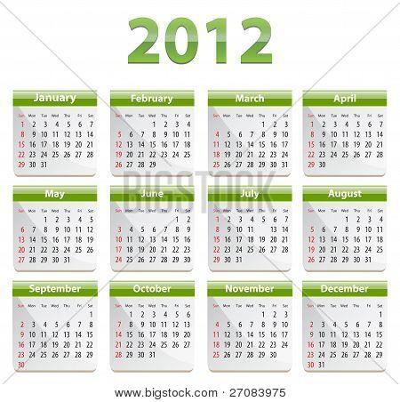Green Calendar For 2012