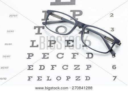Glasses On Eye Test Chart, Ophthalmology Concept