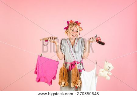 Happy Retro Housewife. Busy Mother. Vintage Housekeeper Woman. Multitasking Mom. Performing Differen