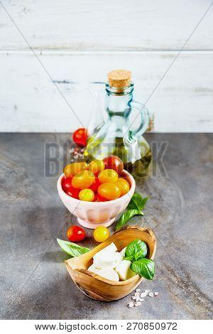 Fresh Italian Salad Ingredients. Mediterranean Salad. Italian Cuisine. Mediterranean Cuisine. Tomato