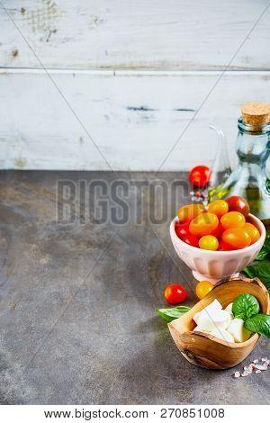 Italian Salad. Mediterranean Salad. Italian Cuisine. Mediterranean Cuisine. Mozzarella Tomato Basil