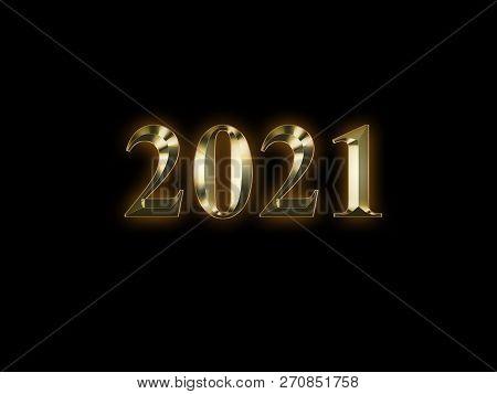 Luxury Golden 2021 New Year On Black Background. Happy New Year 2021.