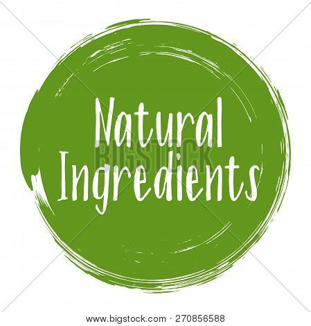 Natural Ingredients Icon, Package Label Vector Graphic Design. Natural Origination And Ingredients P
