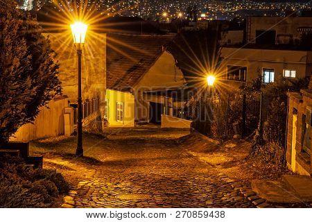 Stone Street From Nitra Castle, Slovak Republic. Night Scene. Travel Destination.