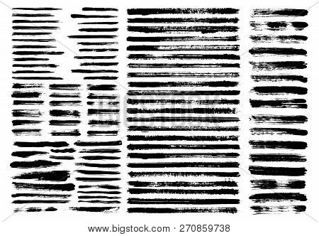 Grunge Paint Stain Brush Stroke Dabs Set. Black Vector Sumi Painting Design Elements Isolated On Whi