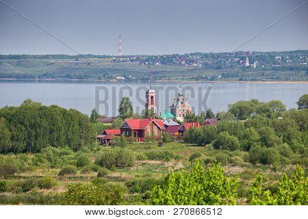 Aerial View Of Church Of The Forty Sebastian Martyrs On Shore Of Lake Pleshcheyevo, Pereslavl-zaless