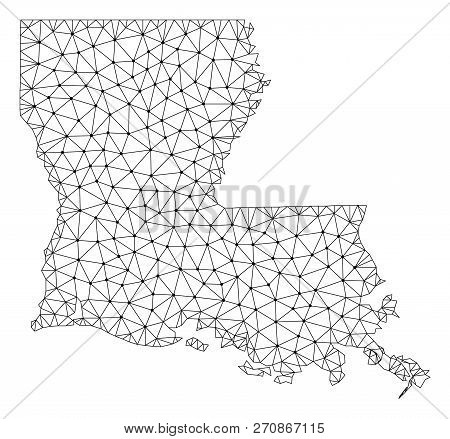 Polygonal Mesh Map Of Louisiana State In Black Color. Abstract Mesh Lines, Triangles And Points With