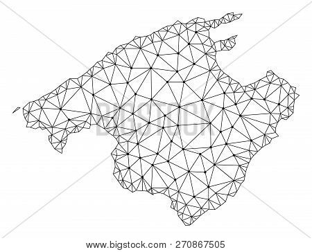 Polygonal Mesh Map Of Majorca In Black Color. Abstract Mesh Lines, Triangles And Points With Map Of