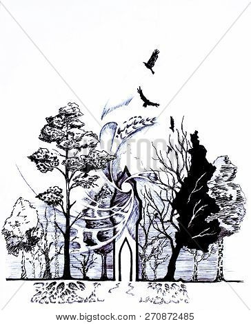 Palace Of Magic In The Forest. Crow Flying Over The Forest. Roots And Crown Of Trees In The Forest,