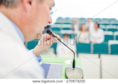 Doctor or physician in medicine lecture as lecturer or professor