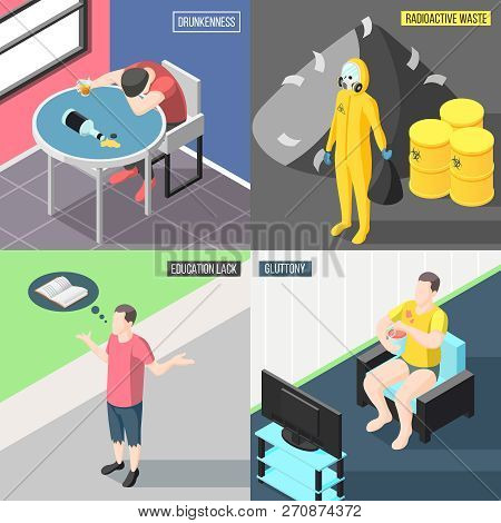Society problems  2x2 design concept set of drunkenness education lack radioactive waste gluttony square icons isometric vector illustration poster