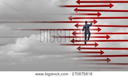Leadership Winning Strategy Business Success Concept As A Businessman Climbing A Ladder Made Of Arro