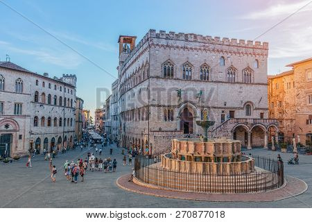 Perugia, Italy - September 11, 2018: View Of The Scenic Main Square (piazza Iv Novembre) And Fountai