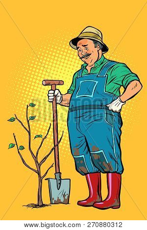 Old Gardener Plants A Seedling. Ecology And Gardening. Trees And Garden Tools. Pop Art Retro Vector