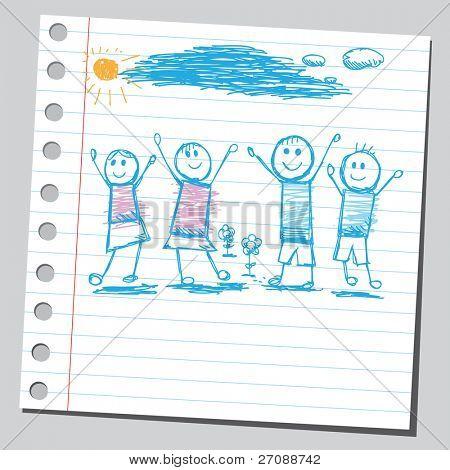 Scribble happy children