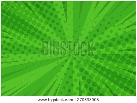 Abstract Green Striped Retro Comic Background With Halftone Corners. Cartoon Bright Eco Background W