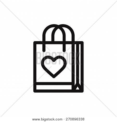 Gift Bag With Heart Icon Isolated On White Background. Gift Bag With Heart Icon In Trendy Design Sty