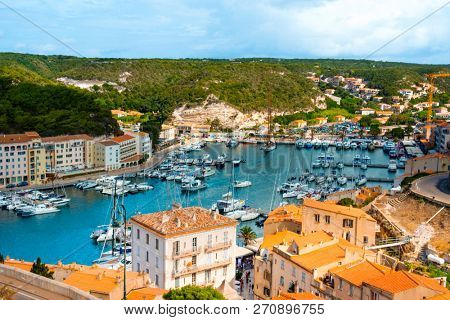 an aerial view of the port of Bonifacio, in Corsica, France