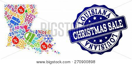 Christmas Sale Combination Of Mosaic Map Of Louisiana State And Grunge Stamp Seal. Vector Blue Seal