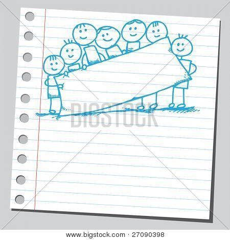 Hand drawn kids holding empty banner