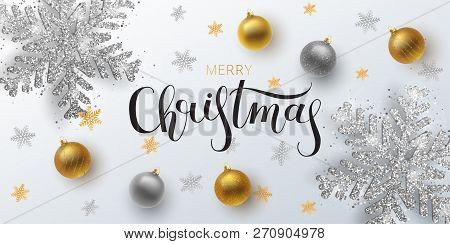 Christmas Greeting Card,  Vector Background.gold And Silver Christmas Ball, With An Ornament And Spa
