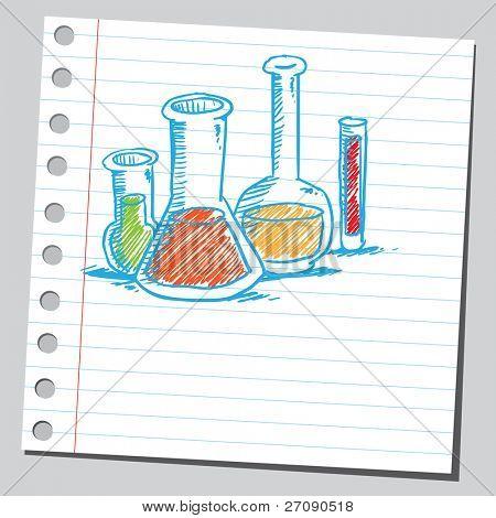 Cristalería de laboratorio dibujados a mano