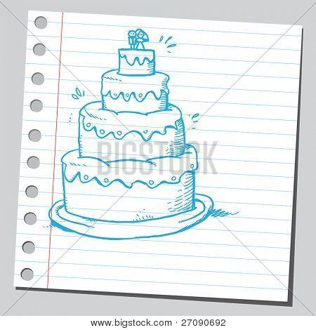 Hand drawn wedding cake