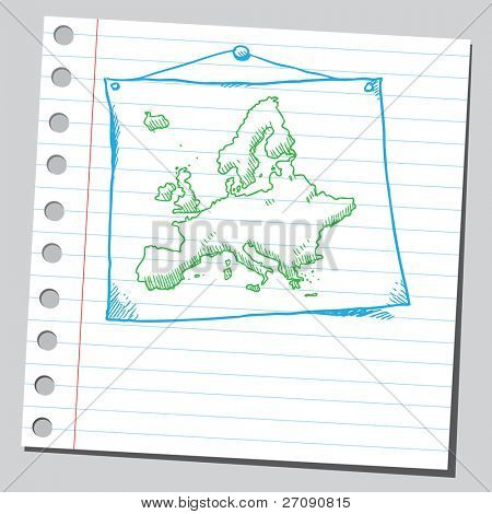 Hand drawn map of Europe