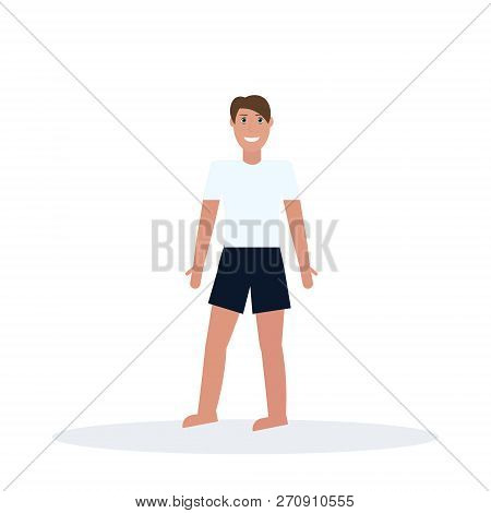 Man Wearing T-short And Shorts Standing Pose Happy Guy Summer Vacation Concept Male Cartoon Characte