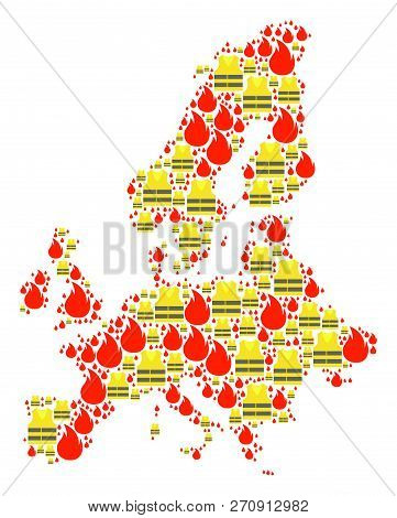 Map Of Euro Union Collage Created For Gilet Jaunes Protest Illustrations. Vector Abstract Collage Of