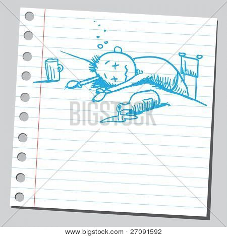 Sketch style illustration of an alcoholic man