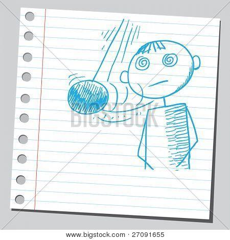Sketch style illustration of a hypnotize man
