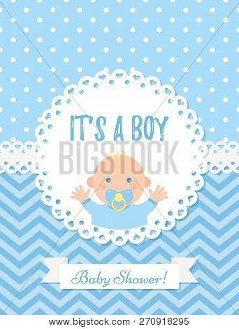 Baby Boy Card. Vector Baby Shower Boy Design. Cute Blue Banner. Birth Party Background. Happy Greeti