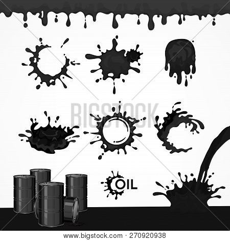 Black Oil Drops And Splash, Set Of Paint Dripping Liquid Drips And Flows Downl, For Boring Industry.