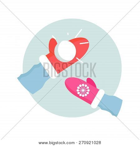 Winter Games. Snowball. People Entertainment In Winter Sports. Make Snowball. Pink Mitten. Holidays