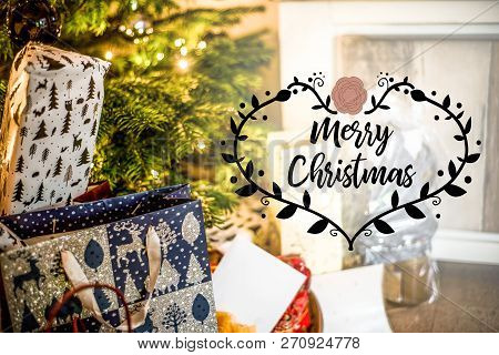 Small Handmade Gift Boxes In Shiny Colorful Christmas Tree Setup Background Celebration Textspace Sa