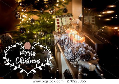 Four Burning Advent Candles, Beautiful Decorated Setup Lights Background Christmas Tree Gifts Textsp