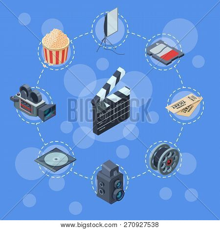 Vector Cinematograph Isometric Elements Infographic Concept Illustration. Illustration Of Infographi
