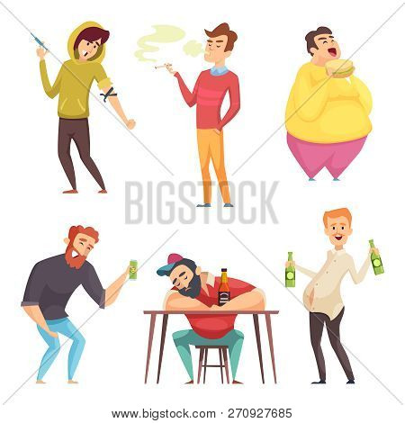Addicted Lifestyle. Alcoholism Drugs And Addiction From Unhealthy Habits Vector Cartoon Characters I