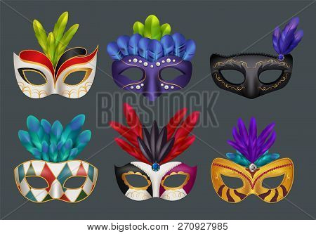Masquerade Masks Realistic. Masked Fashion Party Carnival Vector Realistic Illustrations Isolated. C