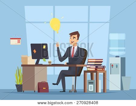 Business Idea Search. Office Manager Have Smart Mind Light Bulb Startup Concept Of Success Happy Wor