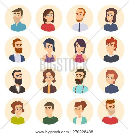 Business Avatars. Colored Web Pictures Of Male And Females Office Managers Vector Portraits In Carto