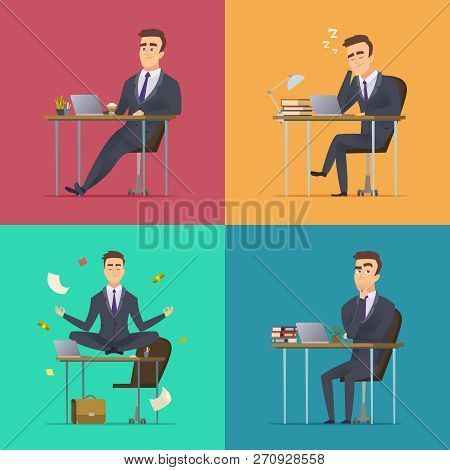 Businessman Scenes. Office Manager Or Director Various Poses Sitting Desk Works Sleeping Meditates T