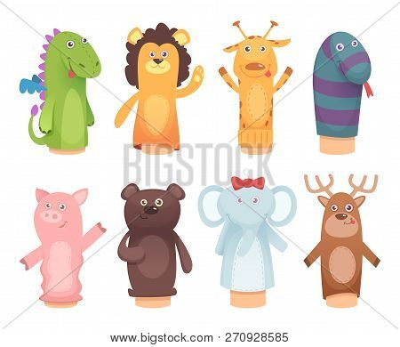 Hands Puppets. Toys From Socks For Kids Funny Children Games Vector Characters Isolated. Illustratio