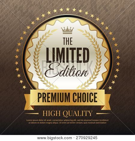 Premium Golden Poster. Luxury Template Of High Quality Service And Choice Placard Vector Template Wi