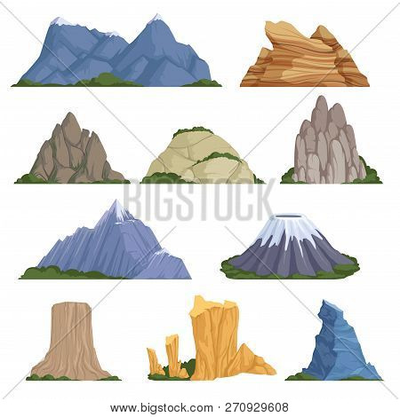 Rockies Mountains. Volcano Rock Snow Outdoor Various Types Of Relief For Climbing And Hiking Vector