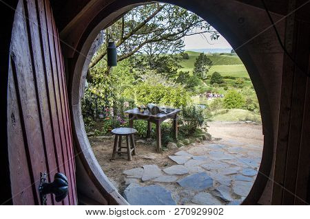 North Island, New Zealand- November 2017; Beautiful View Of Spring Landscape From The Hobbit Hole.
