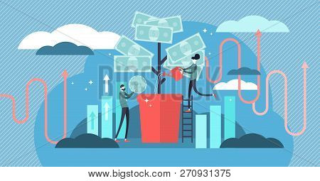 Investing Vector Illustration. Deposit Profit And Wealth Growing Business. Teamwork Persons Cultivat